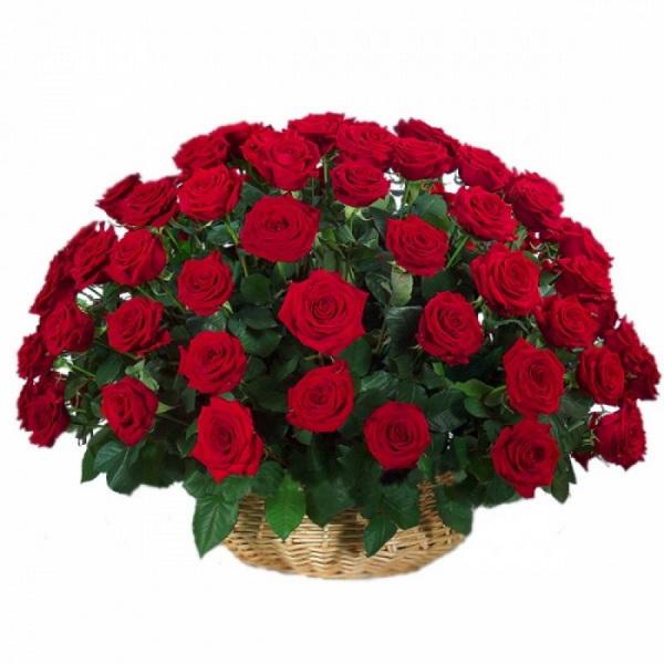 Корзина из 101 розы