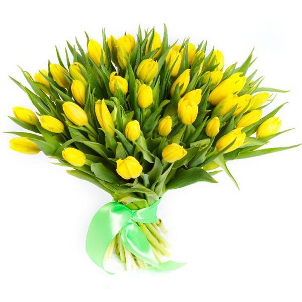 Букет из желтых тюльпанов (15, 25 или 51шт)