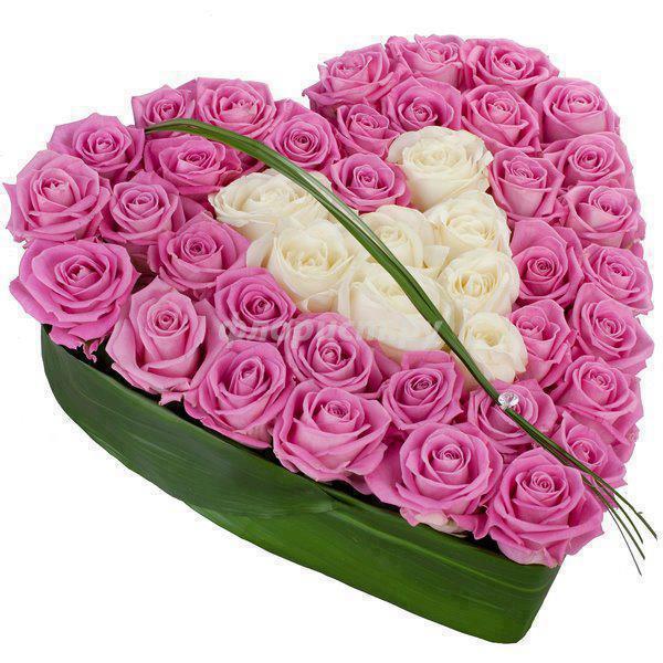 Сердце из 51 розы к дню влюбленных