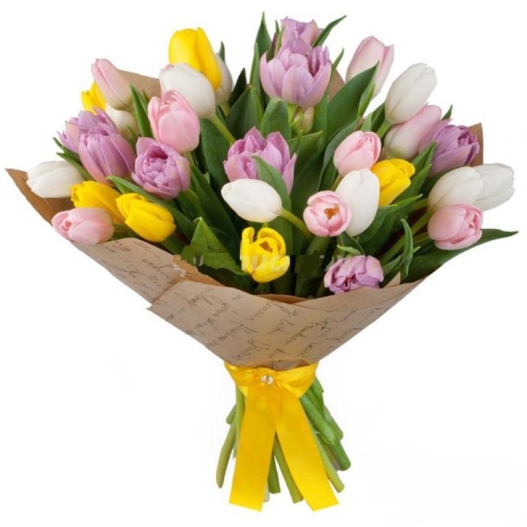 Нежный букет из 51 тюльпанов