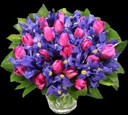 Букет из ирисов и розовых тюльпанов