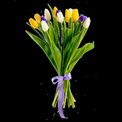 Маленький букетик из ирисов и тюльпанов