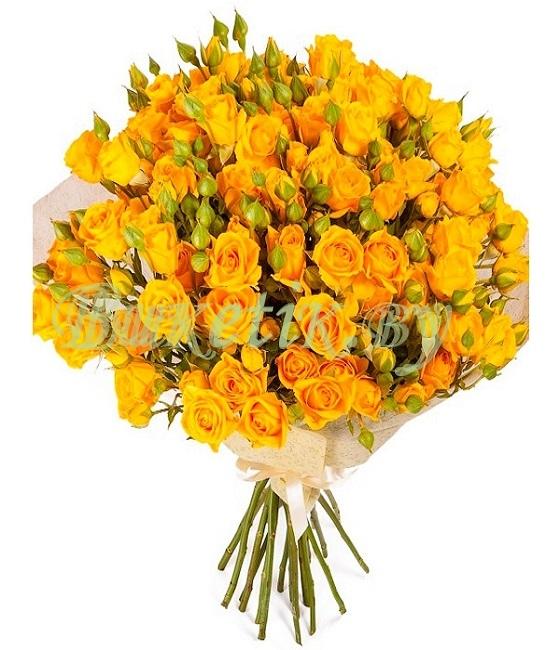 Букет из желтой кустовой розы (9,15 или 19 веток)