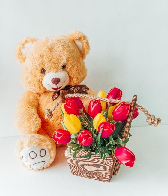 Ящик с тюльпанами и Мишка