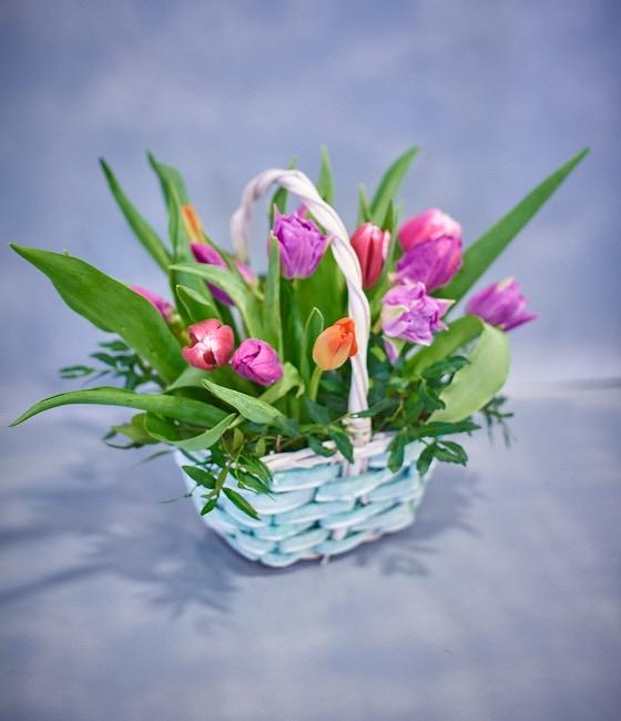 15 тюльпанов в корзинке
