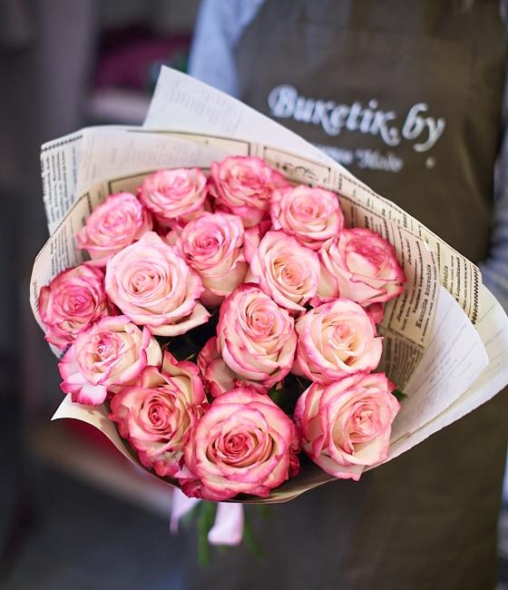 Букет шикарных розовых роз (15,25 или 51шт)