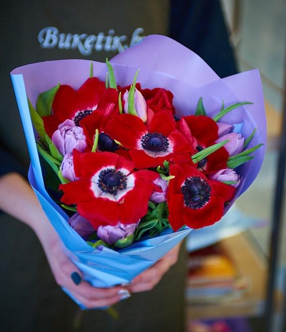 Букет из Тюльпанов и Анемонов