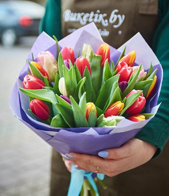 Букет из 25 тюльпанов смешанных цветов