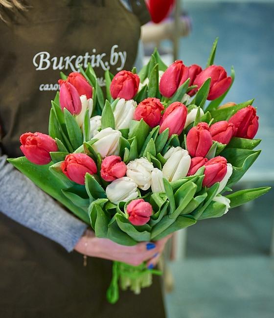 Букет из 25 тюльпанов красных и белых